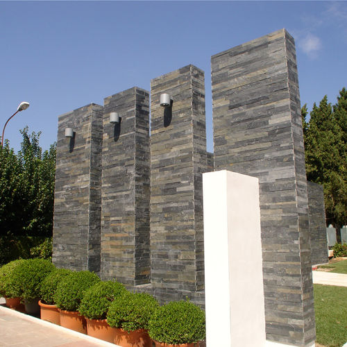 natural stone wall cladding panel / exterior / textured / decorative