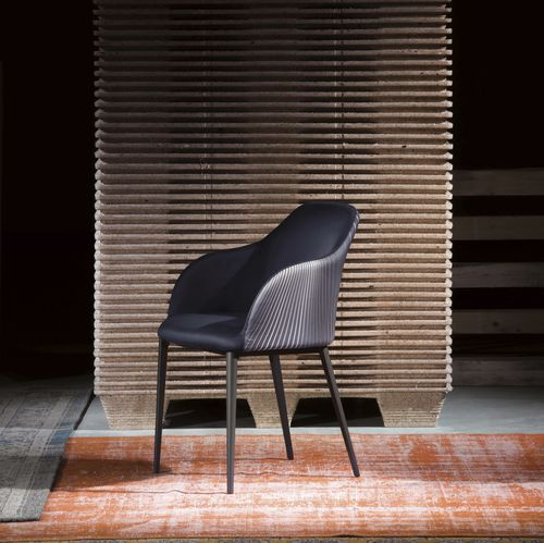 contemporary chair / with armrests / fabric