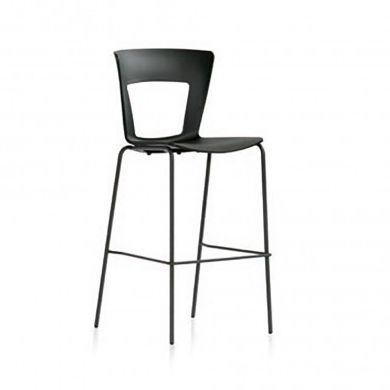 contemporary bar chair / upholstered / fabric / chrome