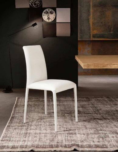 contemporary chair / upholstered / leather / steel
