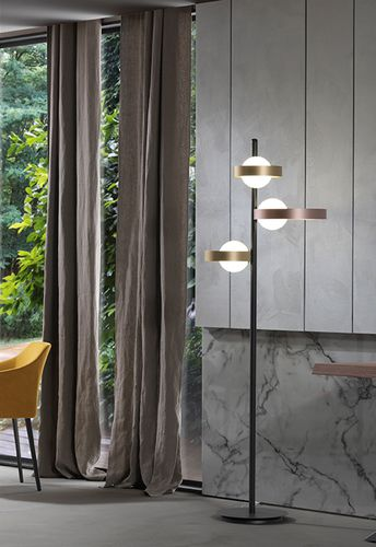 floor lamp / contemporary / metal / glass