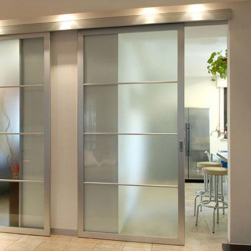 Indoor door / sliding / wooden / glass INSET METRA