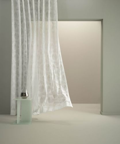 patterned sheer curtain fabric / cotton / polyester