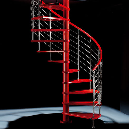 Spiral staircase / wooden steps / metal frame / without risers RED LINE: DIABLE Mobirolo