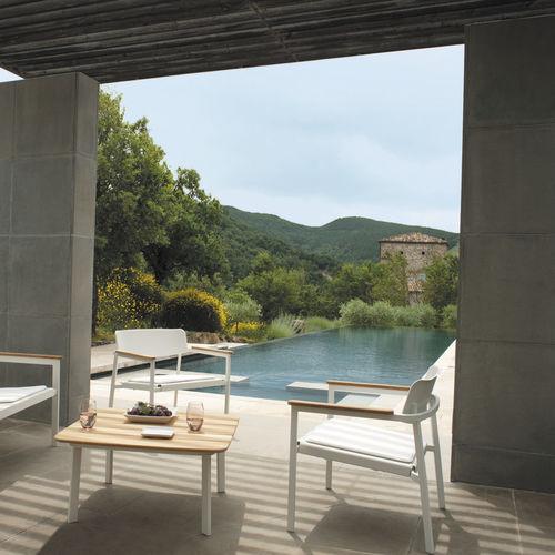 contemporary armchair / teak / aluminium / with removable cushion
