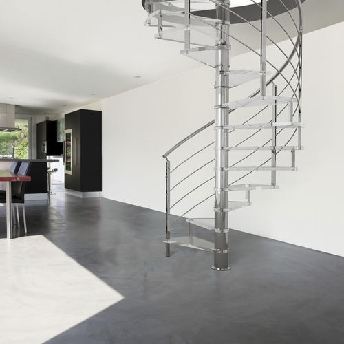 Spiral staircase / glass steps / stainless steel frame / without risers LAFONT : SPIRA FONTANOT - ALBINI & FONTANOT