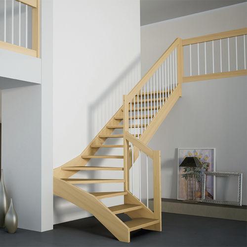 quarter-turn staircase / half-turn / wooden steps / wooden frame