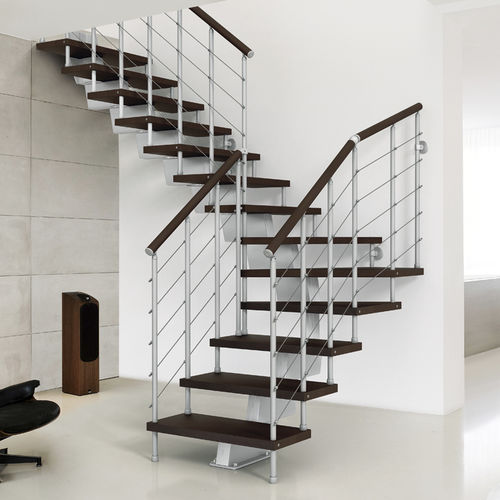 Quarter-turn staircase / metal frame / wooden steps / central stringer GENIUS 010  FONTANOT - ALBINI & FONTANOT