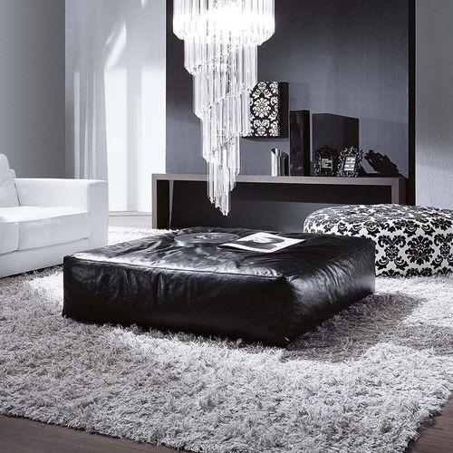 contemporary ottoman / fabric / leather / square