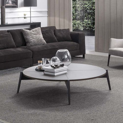 contemporary coffee table / wooden / leather / marble