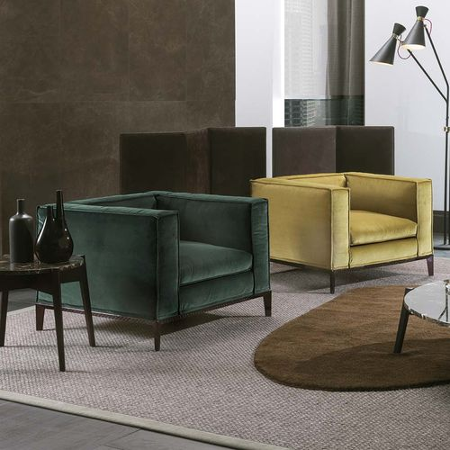 contemporary armchair / fabric / leather / yellow