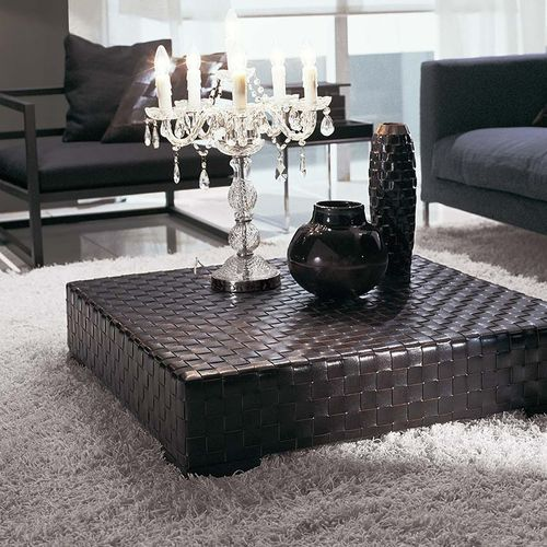 contemporary coffee table / wooden / leather / rectangular