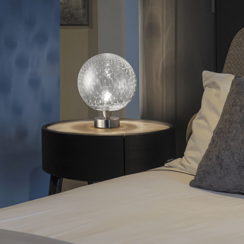 table lamp / contemporary / glass / white