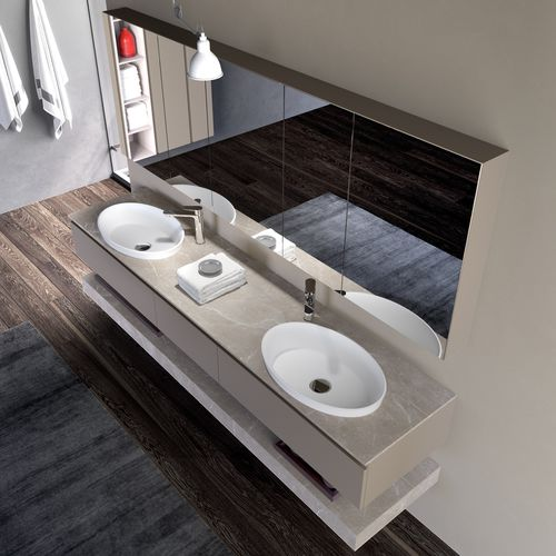 double washbasin cabinet / wall-hung / HPL / contemporary