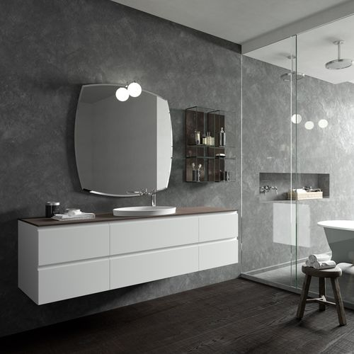 wall-hung washbasin cabinet / HPL / glass / contemporary