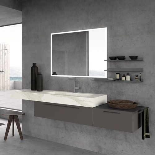 contemporary bathroom cabinet / wooden / wall-mounted / with drawer