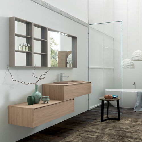 wall-hung washbasin cabinet / HPL / contemporary / with drawers