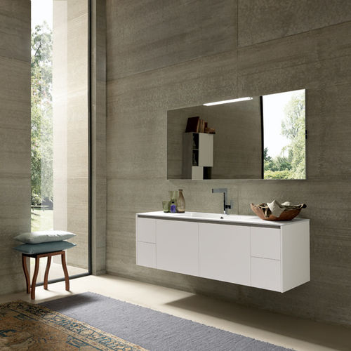wall-hung washbasin cabinet / wooden / contemporary / with drawers