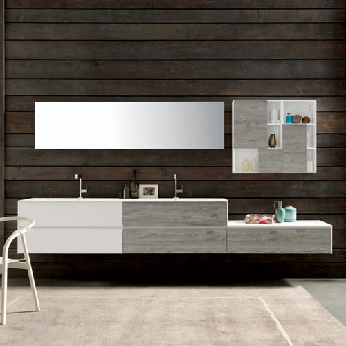 wall-hung washbasin cabinet / wooden / contemporary / with mirror