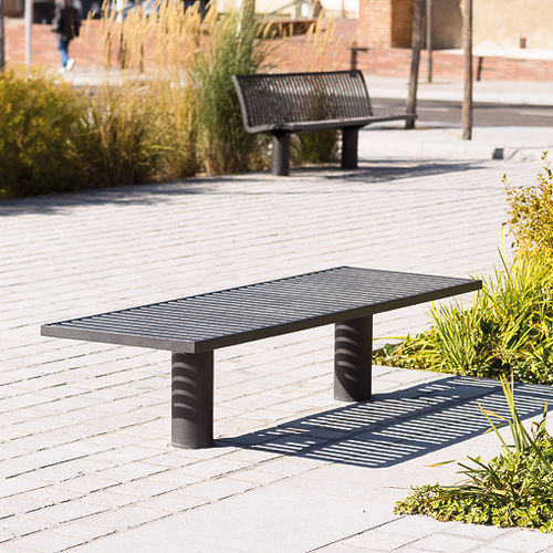 public bench / contemporary / wooden / steel