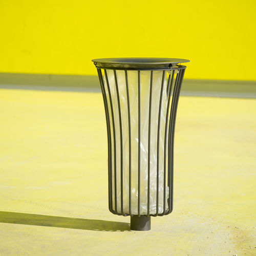 public trash can / polished stainless steel / polyurethane / contemporary