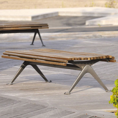 public bench / contemporary / wooden / metal