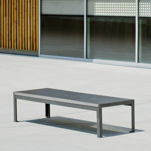 public bench / contemporary / steel / brushed stainless steel