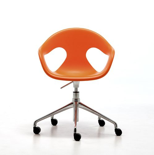 contemporary visitor chair / with armrests / on casters / star base