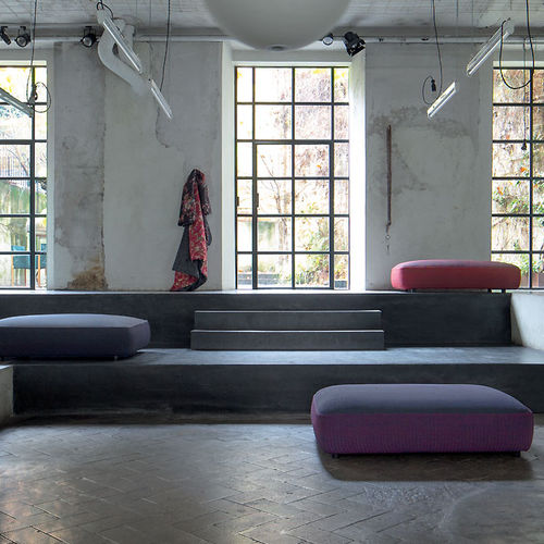 contemporary pouf / fabric / with removable cover