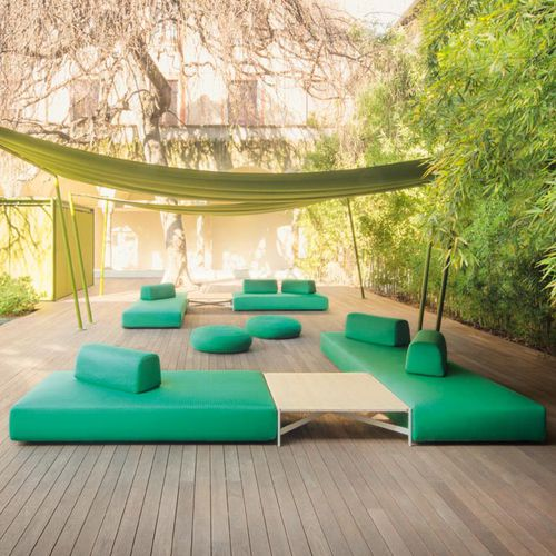 contemporary sofa / garden / fabric / 7-seater and up