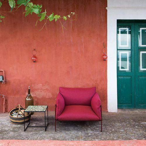 contemporary armchair / fabric / polyester fiber / garden