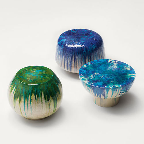 contemporary side table / ceramic / round / garden