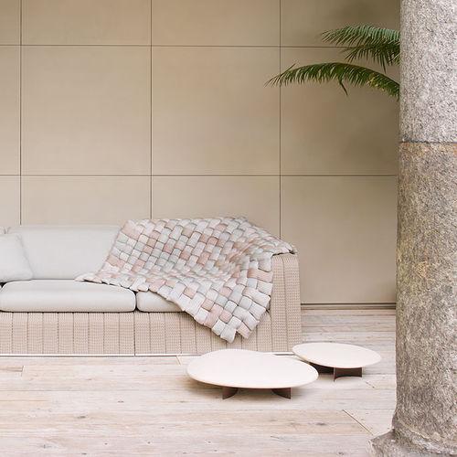 contemporary side table / steel / stone / garden