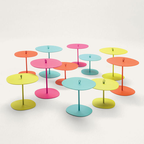 contemporary side table / varnished aluminum / square / garden