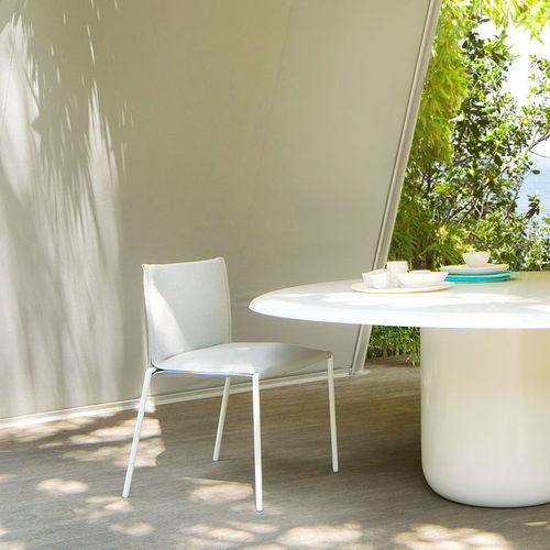 contemporary chair / stackable / with removable cover / fabric