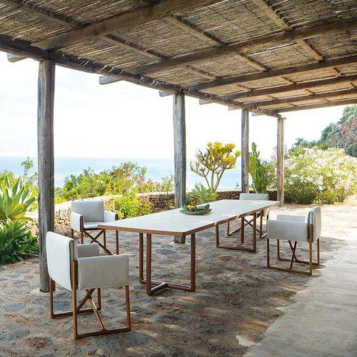 contemporary table / wenge / varnished aluminum / rectangular