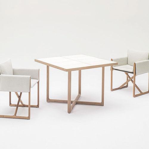 contemporary bistro table / wooden / square / garden