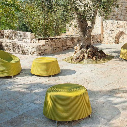 contemporary pouf / stainless steel / round / garden