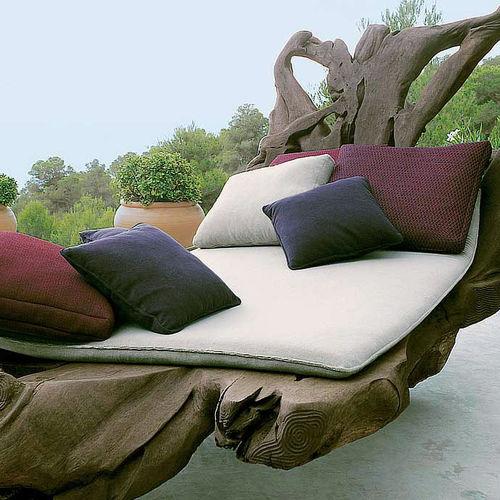 exterior cushion / square / plain / fabric