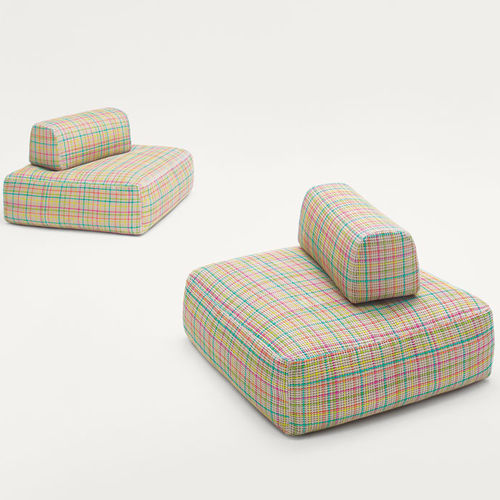 contemporary pouf / fabric / polystyrene / square