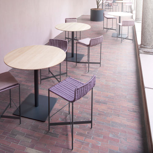 contemporary high bar table / aluminum / round / garden