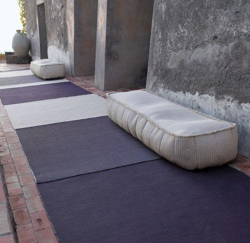 contemporary ottoman / fabric / polyester / square