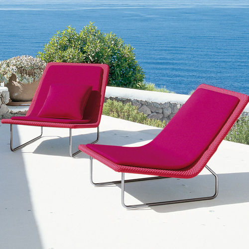contemporary fireside chair / fabric / stainless steel / polyethylene