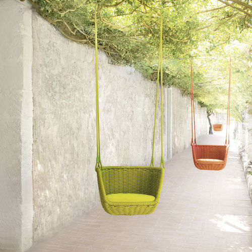 contemporary hanging chair / upholstered / stainless steel / outdoor