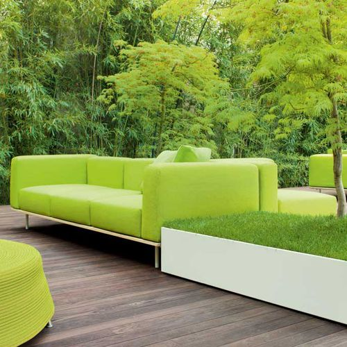 contemporary sofa / garden / wooden / stainless steel