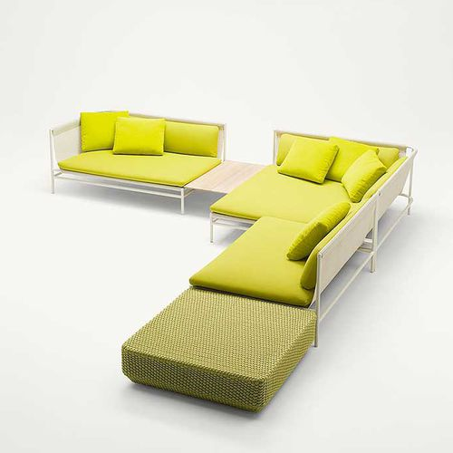contemporary ottoman / stainless steel / rope / upholstered