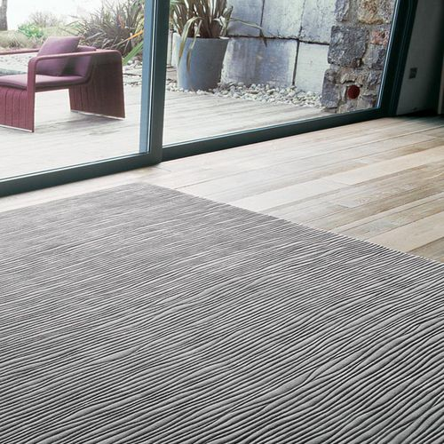 contemporary rug / plain / striped / wool