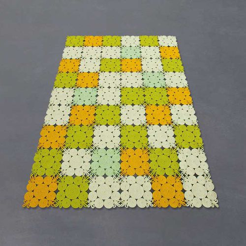 contemporary rug / patterned / wool / polyester