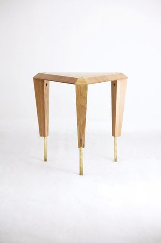 contemporary stool / oak / brass