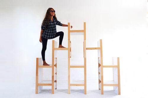 modular shelf / contemporary / wooden / steel